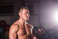 Homme musculaire établissant dans le gymnase faisant des exercices avec des haltères aux biceps, ABS nu masculin fort de torse Photographie stock libre de droits