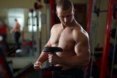 Homme musculaire bel établissant avec des haltères dans le gymnase Image libre de droits
