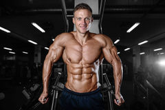Homme musculaire bel de bodybuilder faisant des exercices dans le gymnase Images stock