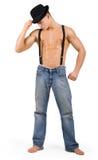 Homme musculaire dans le chapeau images libres de droits