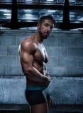 Homme musculaire dans les sous-vêtements posant à l'intérieur d'un bâtiment Images libres de droits