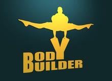 Homme musculaire posant sur le mot de bodybuilder Silhouette de coupe-circuit Photographie stock libre de droits