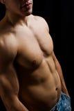 Homme musculaire sans chemise dans des jeans Images libres de droits