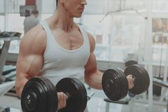 Homme musculaire ?tablissant au gymnase images stock