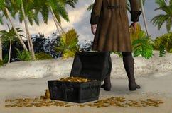 Homme mystérieux avec une illustration de coffre au trésor Image libre de droits