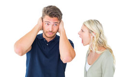 Homme n'écoutant pas son amie de cri Images stock