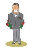 Homme nerveux cachant un grand bouquet des roses Image libre de droits