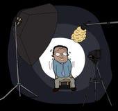 Homme nerveux sur l'appareil-photo illustration libre de droits