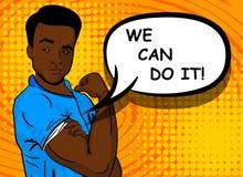 Homme noir d'afro-américain NOUS POUVONS FAIRE LE service informatique Photos stock