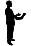 Homme noir de silhouette sur le blanc Image libre de droits