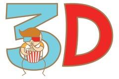 Homme observant le film 3D avec des glaces Images stock