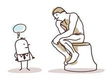 Homme observant le penseur du Rodin illustration libre de droits