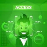 Homme obtenant Access après l'identification de visage balayant la technologie moderne du concept de reconnaissance de Biometrica Photographie stock libre de droits