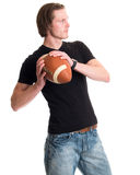 Homme occasionnel avec le football Image stock