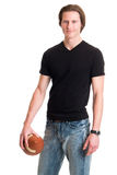 Homme occasionnel avec le football Photo stock