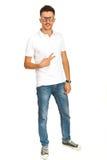 Homme occasionnel avec le T-shirt blanc photos stock