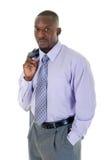 Homme occasionnel d'affaires dans le procès gris Photographie stock libre de droits