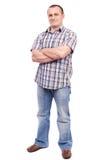Homme occasionnel d'isolement sur le blanc Photographie stock libre de droits
