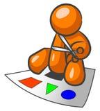 Homme orange effectuant des découpages Images libres de droits