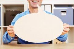 Homme parlant avec la bulle vide de la parole Images libres de droits