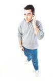 Homme parlant du téléphone Photos libres de droits