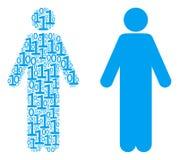 Homme Person Collage des éléments binaires Image libre de droits
