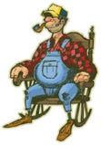 Homme plus âgé dans la bande dessinée de vecteur de chaise de basculage Image libre de droits