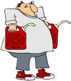 Homme portant deux bidons d'essence Photo stock