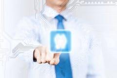 Homme poussant l'icône Photographie stock libre de droits