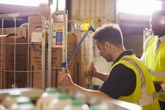 Homme préparant des cages de petit pain pour la livraison, observées par le surveillant Photo stock
