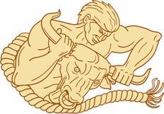 Homme prenant Taureau par le dessin de klaxons Images libres de droits