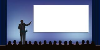 A leader standing on stage, presents his project to an audience. At a conference, a businessman standing behind a desk, points to a white screen to present a royalty free illustration