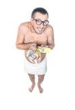 Homme prêt pour se baigner Photographie stock libre de droits