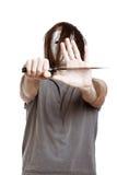 Homme psychopathe effrayant d'horreur avec le couteau Photo libre de droits