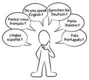 Homme qui veut savoir quelles langues vous parlez Photos stock