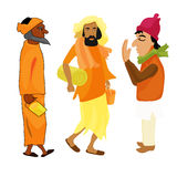 Homme réglé de yogi d'Indien dans l'illustration orange de vecteur de tenue Images libres de droits