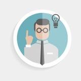Homme réussi de chercheur de papier rond d'icône de vecteur illustration stock