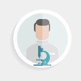 Homme réussi de chercheur de papier rond d'icône de vecteur illustration de vecteur