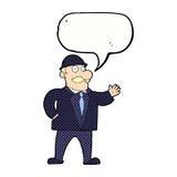 homme raisonnable d'affaires de bande dessinée dans le chapeau de lanceur avec la bulle de la parole illustration stock
