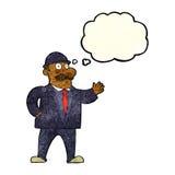 homme raisonnable d'affaires de bande dessinée dans le chapeau de lanceur avec la bulle de pensée illustration libre de droits