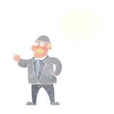 homme raisonnable d'affaires de bande dessinée dans le chapeau de lanceur avec la bulle de pensée illustration stock