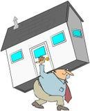 Homme rapportant une Chambre sur le sien illustration libre de droits