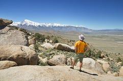 Homme regardant des montagnes photos libres de droits