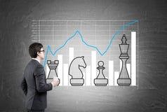 Homme regardant des pièces d'échecs sur le tableau noir Image stock