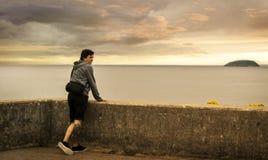 Homme regardant l'île Photo stock