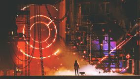 Homme regardant l'usine futuriste illustration de vecteur