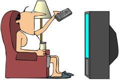 Homme regardant la TV illustration stock