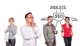 Homme regardant le plan de seo Image stock