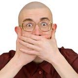 Homme retenant en arrière des plaisanteries vulgaires photographie stock libre de droits