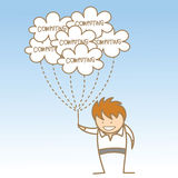 Homme retenant le calcul de nuage Images stock